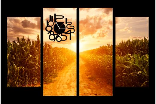 Модульная картина с часами Кукурузное поле